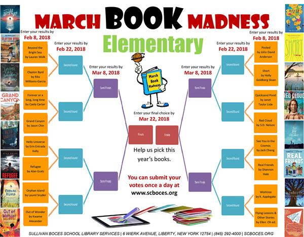 Elementary March Book Madness Brackets