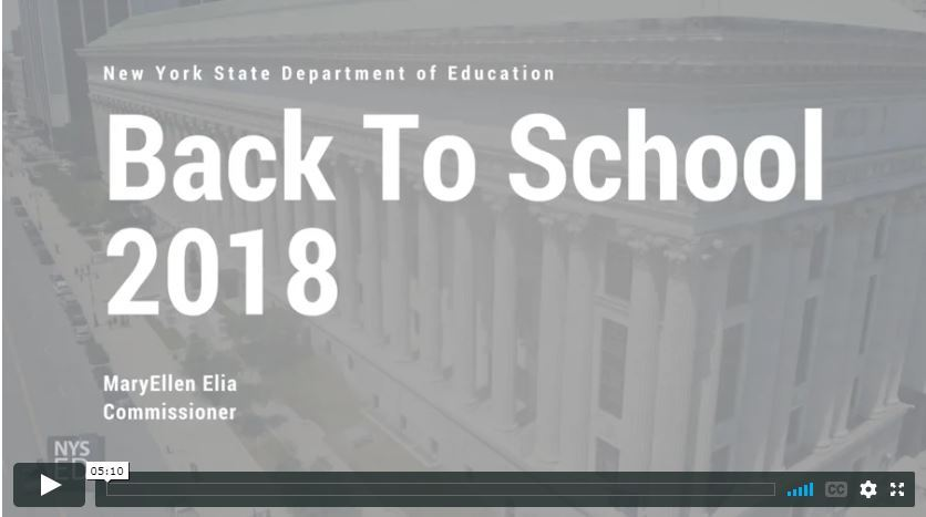 Welcome Back to School from NYS Commissioner MaryEllen Elia