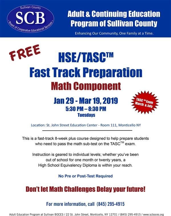 HSE/TASC Fast Track Prep Course Offered