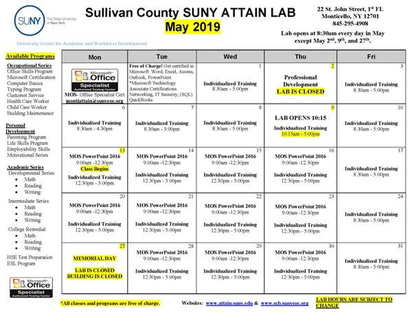 ATTAIN May Course Calendar