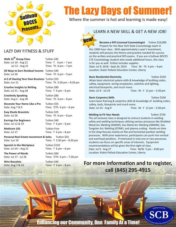 The 2018 Adult Summer Course Flyer is Here!